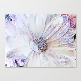Redreaming Deep Dreamed White Flower Canvas Print