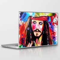 jack sparrow Laptop & iPad Skins featuring Captain Jack Sparrow by isabelsalvadorvisualarts