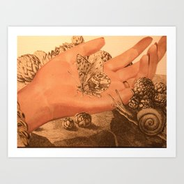 hand in the garden Art Print