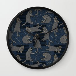 Lounging Cats On Terrazzo - Blue Wall Clock