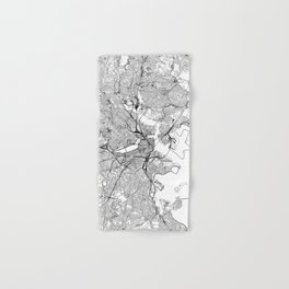Boston White Map Hand & Bath Towel