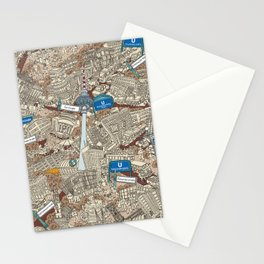 Illustrated map of Berlin-Mitte. Sepia Stationery Cards