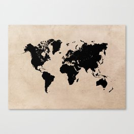 world map 94 black #worldmap #map #world Canvas Print