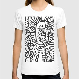 Black and White Graffiti Street art Ink Marker  T-shirt