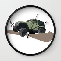 jeep Wall Clocks featuring JEEP by LEIGH ANNE BRADER