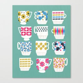 Vintage Teacups - Mid Century, Retro Teacups in pop colors by Andrea Lauren Canvas Print