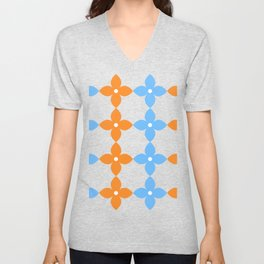 Complementary colors floral pattern - orange and blue Unisex V-Neck