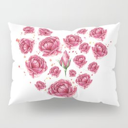 Floral heart of roses Pillow Sham