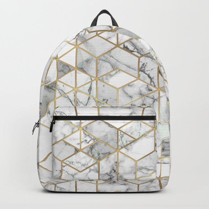 White marble geomeric pattern in gold frame Backpack by ...