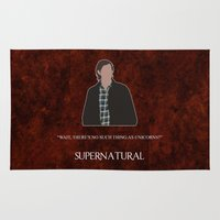 sam winchester Area & Throw Rugs featuring Supernatural - Sam Winchester by MacGuffin Designs
