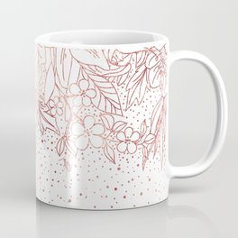 Rose gold hand drawn floral doodles and confetti design Coffee Mug
