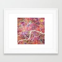 london Framed Art Prints featuring London  by MapMapMaps.Watercolors