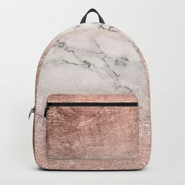 Modern faux rose gold glitter and foil ombre gradient on white marble color block Backpack