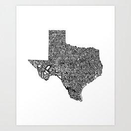Typographic Texas Art Print