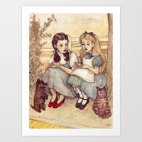 dorothy Art Prints featuring Dorothy and Alice by Helen Green