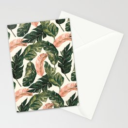 Leaf green and pink Stationery Cards