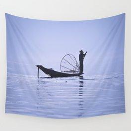 FISHERMAN AT INLE LAKE II Wall Tapestry