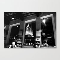 cafe Canvas Prints featuring Cafe by Ashley Lynette Williams
