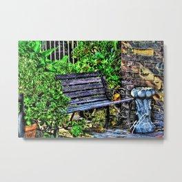Bench Garden Metal Print