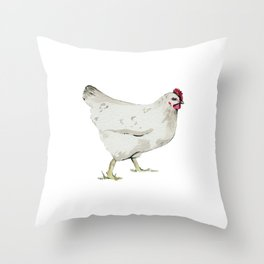 Chicken, Farmhouse Painting, Rustic Watercolor Throw Pillow
