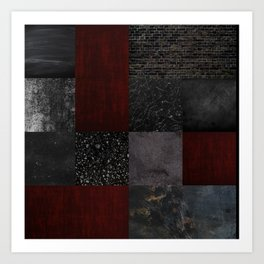 Patchwork (Burgundy + Black) Art Print