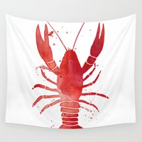 lobster Wall Tapestries featuring Red Lobster by JunkyDotCom
