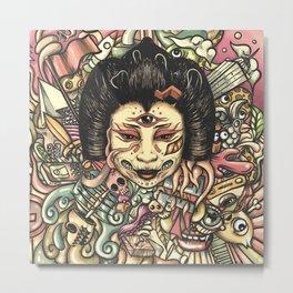 Geisha Doodle Flat Metal Print