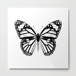 Monarch Butterfly | Black and White Metal Print