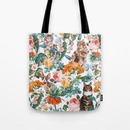 Cat and Floral Pattern III Umhängetasche