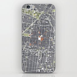 Mexico city map engraving iPhone Skin