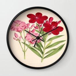 Nerium Oleander Vintage Scientific Floral Illustration Wall Clock