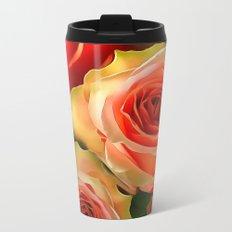Peach Rose Metal Travel Mug