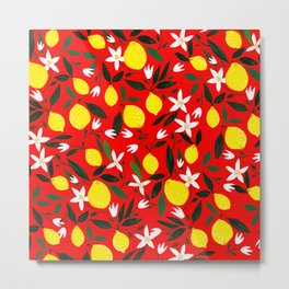 Lemons Red Metal Print