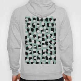 Spotted series abstract dashes mint black and white raw paint spots Hoody