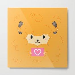 Orange Sheep Metal Print