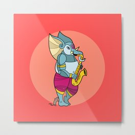 Ganesha Saxophone Metal Print