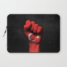 Turkish Flag on a Raised Clenched Fist Laptop Sleeve