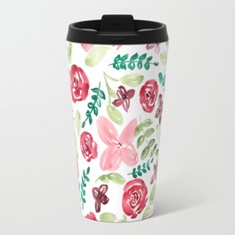 Colorful Watercolor // Hand Painted // Watercolor Flower and Leaves Travel Mug