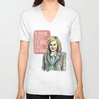 leslie knope V-neck T-shirts featuring Leslie Knope by Tiffany Willis