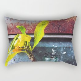 yellow euphorbia milii plant with old lusty metal background Rectangular Pillow