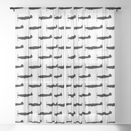 WW2 UK Fighter Aircraft silhouettes Sheer Curtain