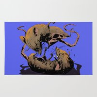 rat Area & Throw Rugs featuring rat fight by antoniopiedade