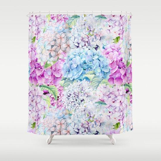 Multicolor Watercolor Hydrangea Dream Pattern Shower