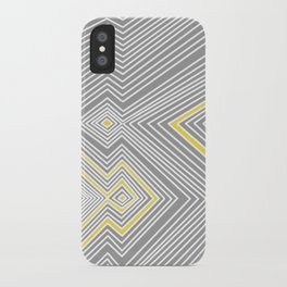 White, Yellow, and Gray Lines - Illusion iPhone Case