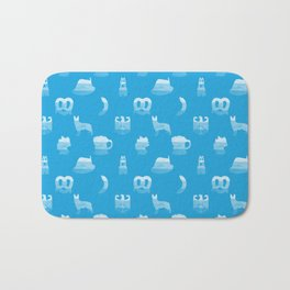 Oktoberfest Bavarian October Beer Festival Motifs in Bavarian Blue Bath Mat
