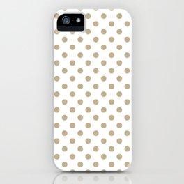 Small Polka Dots - Khaki Brown on White iPhone Case