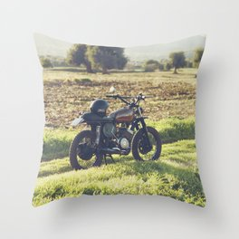 Moto guzzi, café racer, photo in south italy, man cave. Scrambler, fine art, motorcycle, motorbike Throw Pillow