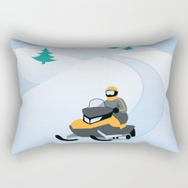 Snowmobiling on a Snowy Winter Day Rectangular Pillow