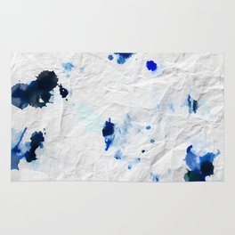 Accidental Blue and Black Ink Spot Abstract Art Rug