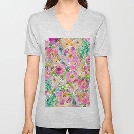 Elegant blush pink lavender green watercolor floral Unisex V-Neck
